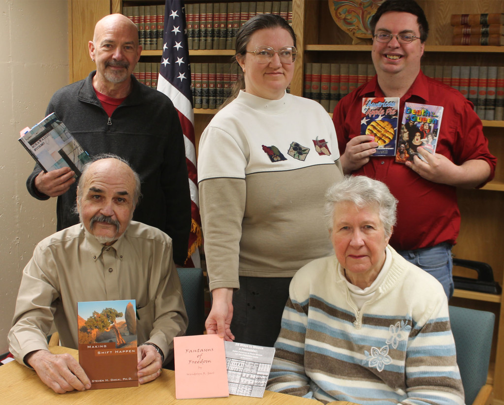"Six Shawano Area Writers will showcase their work at ""Afternoon With the Authors"" on April 14 at Shawano City-County Library. Participating in the event are, from left, seated, Dennis Vickers and Carol Schlehlein; standing, Dr. Steven Dakai, Wendy Goerl and Lee Pulaski. Not pictured is John Mutter Jr."