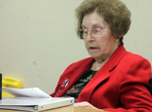 "Dolores Kaliebe, who says she is a ""new"" member of the Shawano Area Writers despite being with the group for a number of years, reads one of the personal essays she writes. (Photo by Lee Pulaski)"